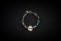 Labradorit-Süsswasserperlen-Armband Silber 925